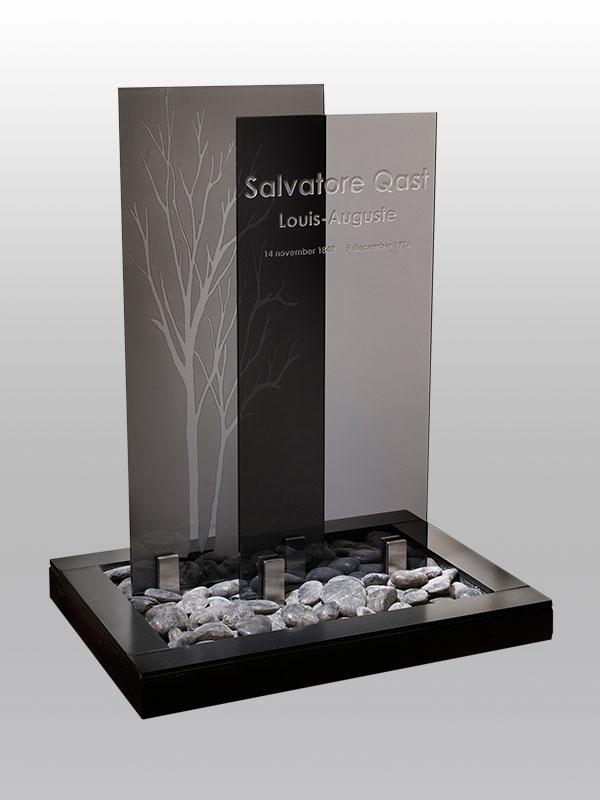 grafmonument, zwart glas, glas, kiezel, jan reek natuursteen
